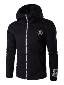 Image of Zip nero giacca a vento giacca maschile lettere stampato giacca con cappuccio manica lunga