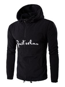 Image of Giacca manica lunga con mezza Zip lettere con coulisse degli uomini di colore giacca a vento giacca con cappuccio
