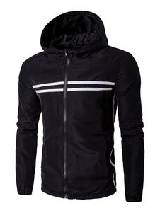 Image of Fondo elastico righe Casual con cappuccio giacca con Zip nera giacca a vento giacca maschile