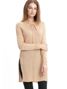Albicocca maglione vestito V collo manica lunga pizzo fessura abito corto in maglia per le donne