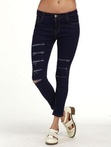 black-denim-jeans-women-high-waist-ripped-skinny-leg-pants