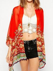 Image of Copricostume Boho Chiffon rosso floreale stampato 3/4 lunghezza manica spiaggia costumi da bagno per le donne