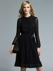 Image of Abito di pizzo nero rotondo collo manica lunga vestibilità slim con coulisse pieghe vestito a pieghe per le donne