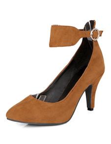 Image of Camoscio tacchi alti alla caviglia mandorla marrone chiaro cinturino tacco a spillo scarpe