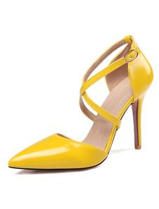 Image of Nudo di donna tacchi alti Pointed Toe Criss Cross cinturino regolabile tacco a spillo scarpe