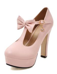 Image of Punta tonda T tipo bendaggio fiocco tacco alto scarpe tacchi alti piattaforma donna rosa
