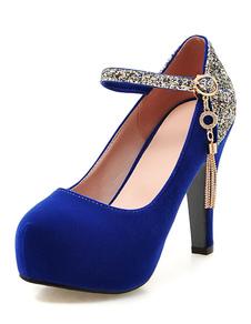 Alto talón plataformas ante redondo metal detalle correa ajustable bomba zapatos