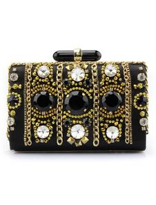Image of Matrimonio frizione borse da sera vintage borse nero perline Jeweled chiusura orizzontale serratura