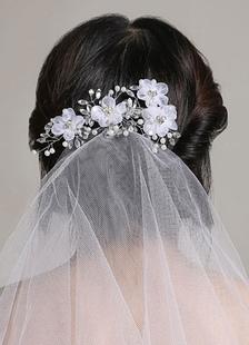 Image of Bianco da sposa velo Organza due Tier taglio bordo velo da sposa con strass perle Fiore accessori per capelli