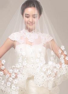Cathédrale de mariage voile fleurs 3D Lace Trim 1 Tier blanc Bridal Veil