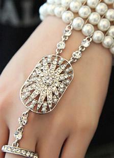 Anillo pulsera Vintage perlas Pulseras con cuentas novia esclava