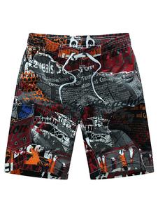 Image of -Pantaloncini da bagno stampato con coulisse in vita estate spia