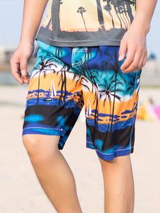 Image of -Pantaloncini da bagno blu spiaggia Cocoanut alberi stampato cou