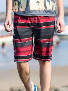 Image of -Pantaloncini da bagno Borgogna a righe orizzontali estate panta