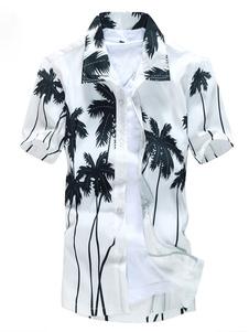 Árbol de Cocoanut blanco hawaiano camisas hombre manga corta impresa camiseta verano playa