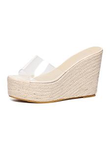 Abricot Sandales Pantoufles Femmes Transparent Peep Toe Backless Wedge Sandale Chaussures Plateforme Espadrilles Sandales
