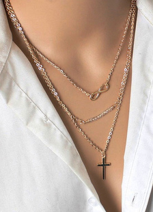 Image of Alleato di collana oro femminile modello a strati collana croce