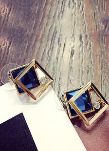 Image of Stud orecchini profondo blu donne geometrico trafitto orecchio P