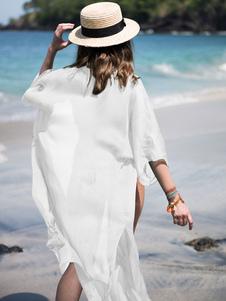 Image of Copertura in Chiffon Ups Boho mezza manica anteriore Open Beach abbigliamento per le donne