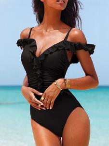 Maillots de bain une pièce noir sangles ébouriffé Sexy Beach maillots de bain