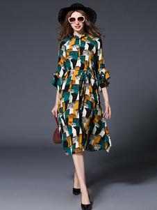 Image of Abito in Chiffon Multicolor Stand collare volant 3/4 di lunghezza manica Lace donna Up abito lungo