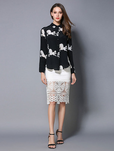 Camicia in Chiffon nera diffusione colletto manica lunga cavallo modello elegante camicia