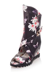 Image of Sandalo nero stivali Peep Toe floreale stampa incrociato zeppa sandali per le donne