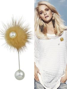 Image of Giallo perle dettaglio spilla Casual spilla Pin femminile con pon pon