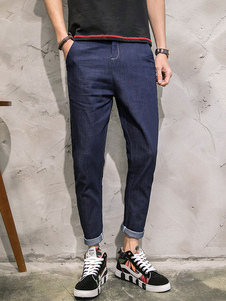 men-denim-pants-deep-blue-academic-style-casual-tapered-pants
