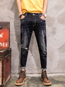 black-ripped-jeans-men-denim-washed-distressed-chic-pencil-pants
