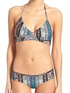 Image of 2 pezzi costume da bagno Sexy Halter stampato senza maniche incrociato Bikini Set per le donne