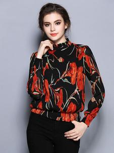 Image of Camicetta nera Stand collo manica lunga nervatura polsino maglia floreale stampato Casual Top donna