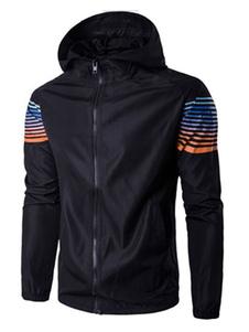Giacca nera uomo Pullover lungo manica stampata colore blocco giacca a vento giacca
