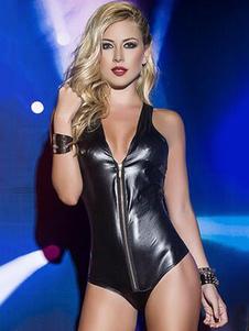 Image of Pole Dance nero PU cerniera V collo abiti da Discoteca Sexy body donna