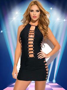 Image of Club abito nero donna scollato taglia stringa Mini Abito Sexy con le mutandine