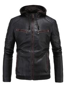 Image of Giacca di Pelle da Uomo nera monocolore incappucciata vestibilità Classica normale casual in cuoio poliuretano