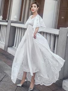 Image of V collo mezza manica Lace Maxi abito bianco donna Up abito lungo In Set 2 pezzi
