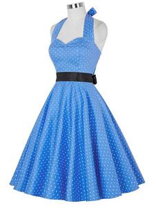 Robe Vintage bleue Halter sans manches à pois déco Backless Flare plissé robe avec noeud papillon