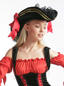 Image of Accessori di tappo nero Costume pirata sexy per le donne Carnevale