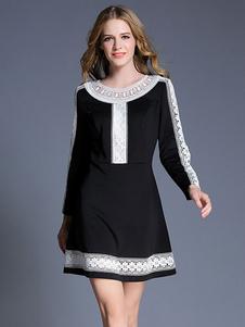 Image of Vestito a pieghe nera rotonda collo manica lunga Slim Fit Abito corto per le donne