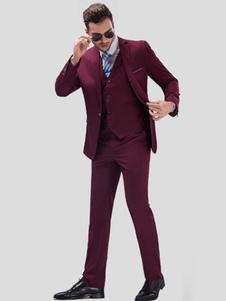 Image of Smoking formale abiti Borgogna sposa abito sposo tacca Laple centro Vent uomo In 3pcs