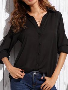 Image of Di camicia in Chiffon nero Turndown collo camicia maniche lunghe