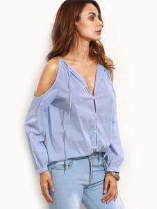 Image of Di camicia blu V collo camicia maniche lunghe donna fredda spalla Design Strappy Casual