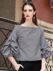 Algodón blusa Bateau cuello 3/4 longitud patrón de cuadros con volantes camiseta de manga de la mujer