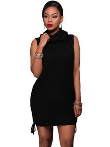 Image of Maglia donna abito scialle nero collare senza maniche Side Lace Up abito maglione corto
