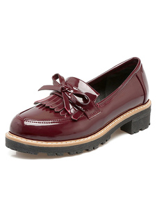 burgundy-oxford-shoes-women-round-toe-bow-decor-fringes-slip-on-academic-style-shoes