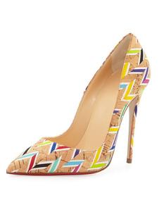 Image of Scarpe con tacchi alti castano chiare pU con stampe tacco a fino 12cm a punta donna