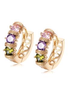 Image of Orecchini di moda bucato chic & moderni in lega d'acciaio violi strass cerchio donna