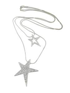 Women`s Silver Necklace Rhinestones Beaded Star Pattern Pendant Necklace