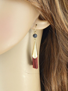 Image of Orecchini di moda bucato classico & tradizionali in lega d'acciaio rossi con frange orecchini pendenti donna